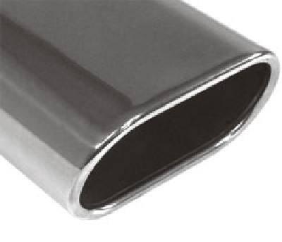 Fox Anschweißendrohr Typ 52 150x70 mm / Länge: 300 mm - Flachoval / eingerollt / 15° abgeschrägt /